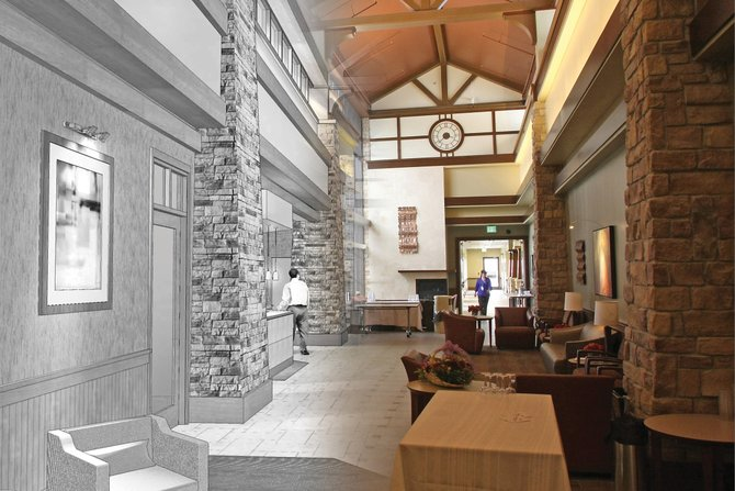 Shown at left is a rendering by Earl Swensson, the architecture firm that designed The Memorial Hospital's new facility. At right is a photograph of the hospital's atrium taken Thursday. The new Memorial Hospital will be open for public tours from 10 a.m. to 2 p.m. today.