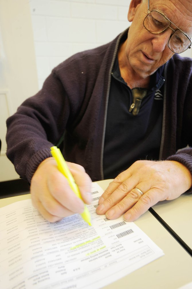 Steamboat Springs resident Bud Romberg highlights the names of people who have returned ballots Friday at the Routt County Courthouse. Residents younger than 45 account for just one-fifth of the ballots cast in Routt County's 2009 election, even though about half of the county's registered voters are in that age group.