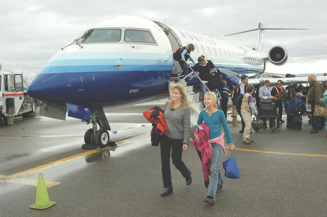 Without Mesa Air Group available to serve Yampa Valley Regional Airport with turboprops, United Airlines will provide all-jet service - without the expensive strings it previously attached. This jet flew in to YVRA in December 2006.