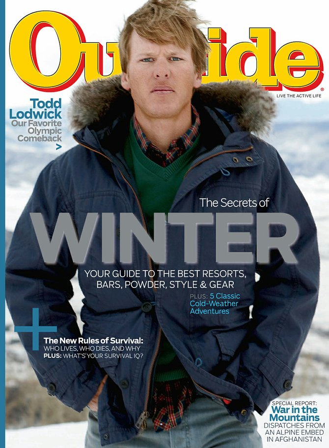 The November 2009 edition of Outside magazine featured Steamboat Springs Olympian Todd Lodwick on the cover and three other locals modeling clothes. The edition of the magazine that feature Lodwick was mailed to subscribers and is not available for purchase from magazine racks in Steamboat, but a spread featuring the four locals is in all versions of the magazine.