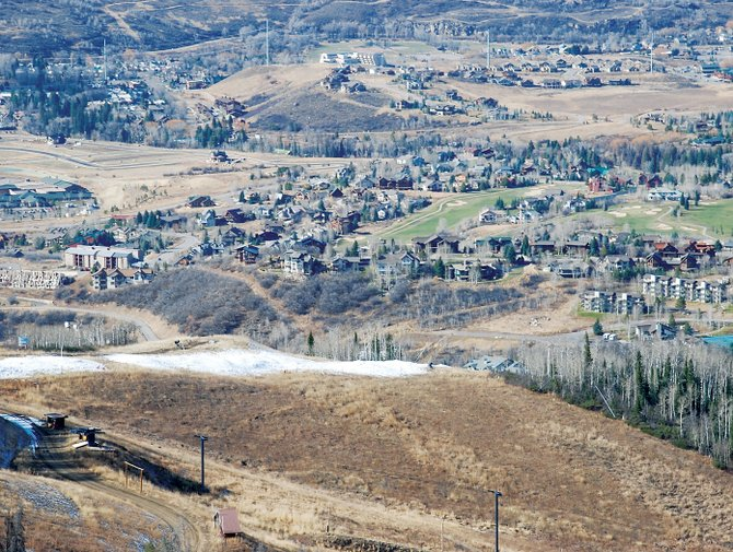 A modest band of man-made snow has been stockpiled at the top of the Vogue Trail at Steamboat Ski Area in anticipation of opening day, just 15 days away.