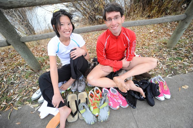 Boulder-based Barefoot Running Club co-founders Jessica Lee, left, and Michael Sandler were in Steamboat Springs this week testing out various shoes around town to further their minimalist footwear research.