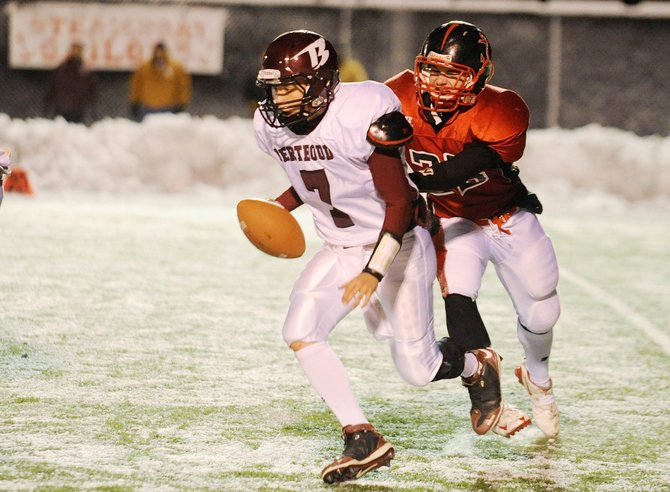 Steamboat Springs High School senior Bryce Mayo sacks Berthoud High School's Zachary Ruebesam during the second half of Friday night's game.