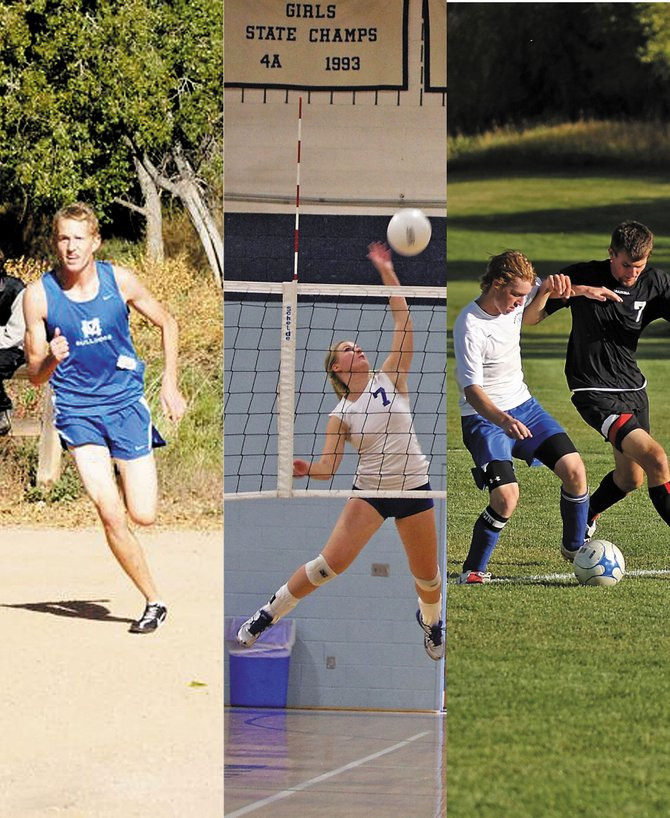 Moffat County High School athletes compete during the fall sports season. From left, varsity cross-country athlete Alex McCoy, varsity volleyball player Tasha Romney and varsity soccer midfielder Cole DuBois compete for the Bulldogs. The girls and boys cross-country teams placed in the top 10 at the state meet, while varsity volleyball made it to the semifinals at the regional meet.