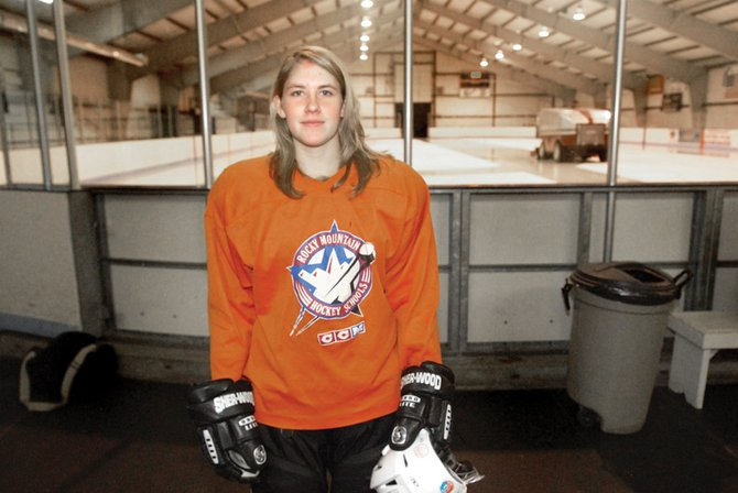 Kelsie Pomeroy plays wing for the Moffat County Bulldog Club Hockey Team. She is the only girl on the team. She said she expects to score several goals this season because defenders may overlook her.