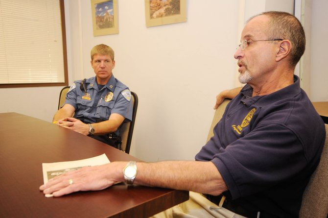 Steamboat Springs Public Safety Directory J.D. Hays, right, and police Capt. Joel Rae on Nov. 17 address the sexual assault rumors circulating in Steamboat. The pair plans to hold a informational meeting for the public from 6 to 8 p.m. Tuesday at Centennial Hall.