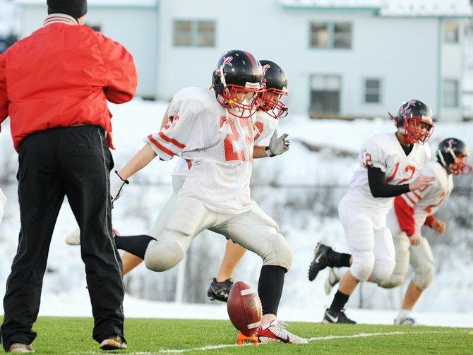 Steamboat Springs High School junior Pete Schuette kicks the ball Thursday as the Sailors prepare for Saturday's 1 p.m. showdown against Windsor.
