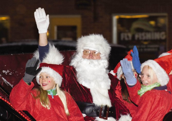 Santa arrives at the downtown tree lighting ceremony in Steamboat Springs on Nov. 28, 2008.