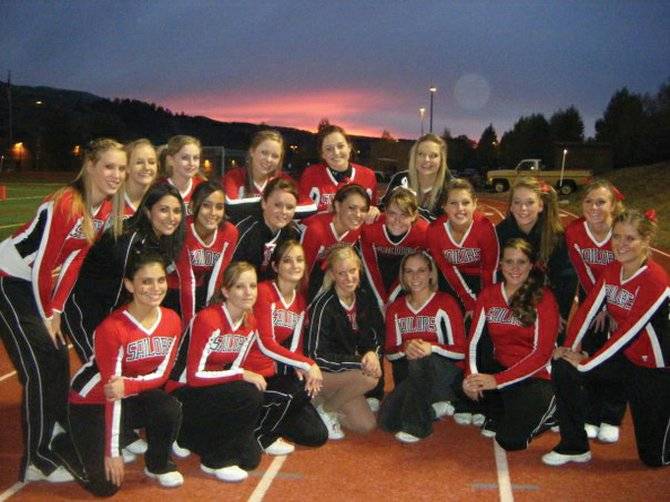 The Steamboat Springs High School cheerleading squad is back row, from left, Kate Rusk, Brittani Beckwith, Marcie Norris, Catherine Fischer, Emma Lichtenfels and Erin Duran; middle row, from left, Brittany Salazar, Alisha Repollo, Skyler Barry, Hannah Ramirez, Charlotte Letson, Mary Mullen, Hadlie Quick and Sydney Finkbohner; and front row, from left, Brandi Salazar, Linnea Franke, Kaitlin McBride, Alexandra Wetzler, Genna Bradley, Journee Heinert and Kendall Yeager.