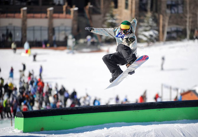 Steamboat Springs resident Clinton Vits does a grab on a feature in the Lil' Rodeo Terrain Park on Thursday.