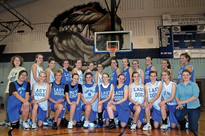 The Moffat County High School girls varsity basketball team lost all five starters from a year ago, but the team returns a number of varsity-seasoned seniors and juniors. The team will play its first games of the season during the Dec. 4 Vernal Tournament in Vernal, Utah. The girls team is, back row, from left, Chelsie Carlson, Maddy Jourgensen, Justine Hathhorn, Melissa Camilletti, Adrie Camp, Kendal Snyder, Ashley King, Jessi Moser, Britteny Ivers, Callie Papoulas, Annie Sadvar, Nike Cleverly and Danielle Knez. Front row, from left, is Andi Daugherty, Sassy Murray, Bailey Hellander, Molly Nations, Kori Finneman, Tori Snyder, Jessica Scott, Lisa Camilletti, Kyleen Ellgen, Makayla Camilletti and Dakota Lee.