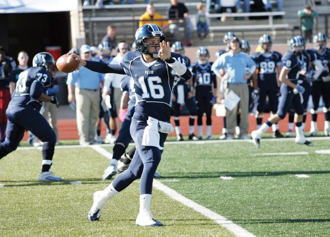 Valor Christian junior quarterback Brock Berglund fires off a pass during the Eagles' Nov. 21 Class 3A state quarterfinal football game against visiting Glenwood Springs.