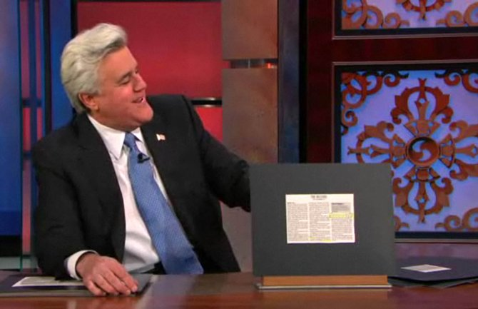 Comedian Jay Leno reads a record entry from the Steamboat Pilot & Today during his Monday show.