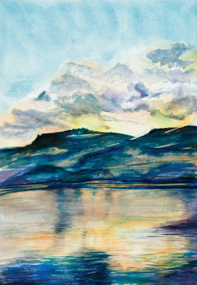 "This is ""Stagecoach Reservoir"" by Rebecca Pauvert. Her paintings and photo­­graphy are featured in today's First Friday Artwalk at The Epicurean Charcuterie and Cafe. The Epicurean is one of four new venues for the monthly event."