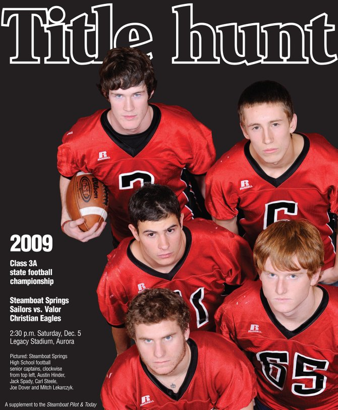 Steamboat Springs High School football senior captains, clockwise from top left, Austin Hinder, Jack Spady, Carl Steele, Joe Dover and Mitch Lekarcyzk. 