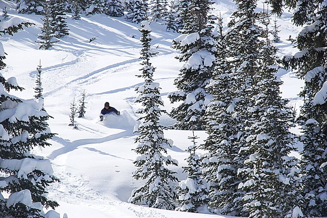 "Steamboat resident Tom Heilner skis in April 2008 on Buffalo Pass, an area that filmmaker Warren Miller featured in his 2006 production ""Off the Grid."" The Yampa Valley Film Board is revitalizing efforts to attract media production to Northwest Colorado."