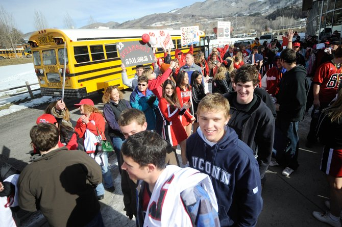 Steamboat Springs High School football players load the bus during a state championship game send-off Friday at the school. The Sailors play Valor Christian for the Class 3A state football championship at 2:30 p.m. today at Legacy Stadium in Aurora.