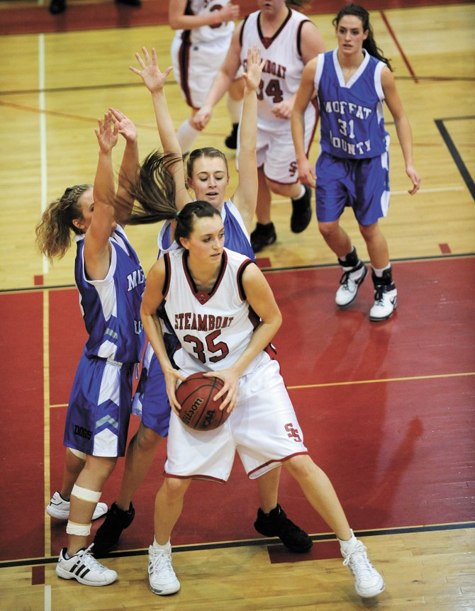 Steamboat Springs High School girls basketball player Colleen King, shown in January's game against Moffat County, returns to the Sailors squad this year. The team is hoping to take the league title this year.