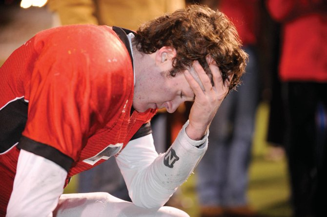 Austin Hinder reacts after today's championship game loss to Valor Christian at Legacy Stadium in Aurora.