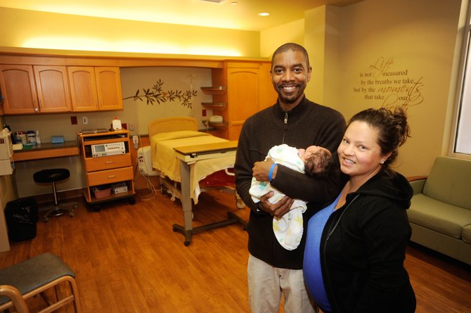 Tony Counts holds his newborn son, Cooper, on Thursday at the Family Birth Place at Yampa Valley Medical Center. His wife, Kelda, gave birth to their son Wednesday.