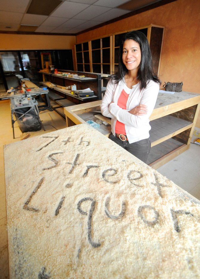 Danielle Hubler and her husband, Jeff, are remodeling the building next to the Space Station gas station to open 7th Street Liquor.