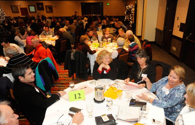 Community members, from left, David Nagel, Susan Krall, Diann Ritschard, Jo Stanko and Cynthia Rozell discuss constitutional amendment reform during a Colorado's Future seminar Wednesday at the Sheraton Steamboat Resort. The group is hosting meetings with civic leaders across the state to talk about possible changes to how initiatives are placed on Colorado ballots.