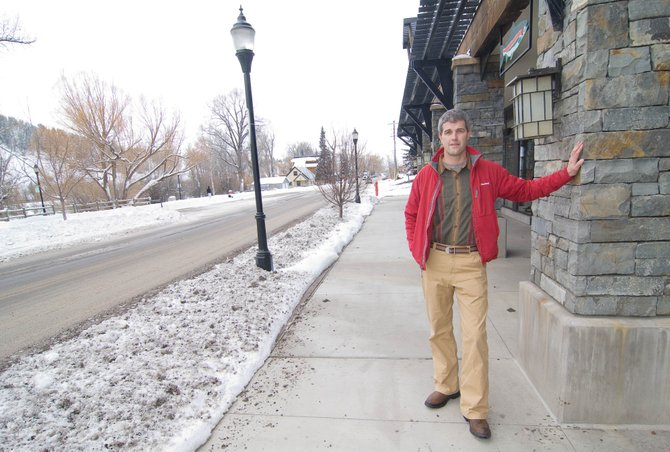 Jon Wade stands along Yampa Street where the plaques for Steamboat Springs' Walk of Olympians will be placed early next summer. Wade said he hopes to have nine plaques spoken for by the end of next week so that they can be displayed at an Olympic send-off planned for Feb. 5 at Howelsen Hill.