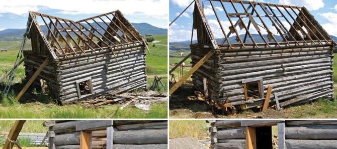 "The Diamond Window Cabin was built between 1904 and 1906 by Park ""P.J."" Gardner and his wife, Ada May, beside the path of modern Routt County Road 14. The above photos are featured in a calendar showing the restoration of the cabin."