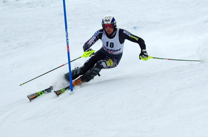 U.S. Ski Team member Will Gregorak races to a first-place finish Tuesday during the Holiday Classic at Howelsen Hill.
