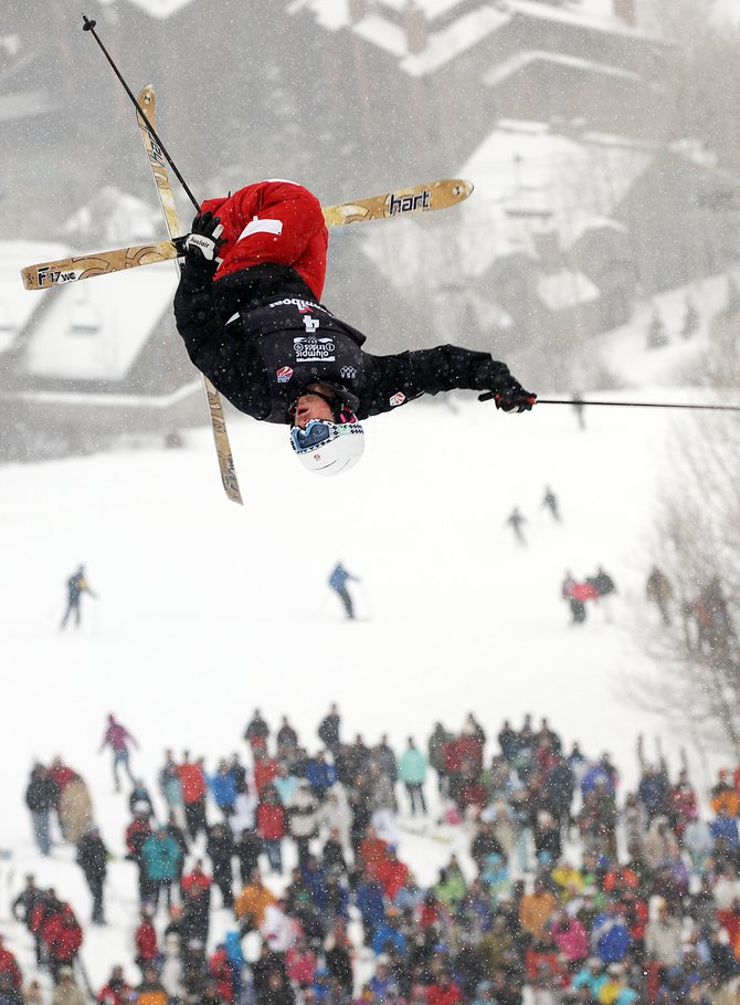 Patrick Deneen flies off the bottom jump on the Voo Doo moguls course Wednesday at the Steamboat Ski Area. Deneen won the men's moguls event at the 2010 U.S. Olympic Team Trials, earning a spot in the 2010 Olympics in Vancouver.