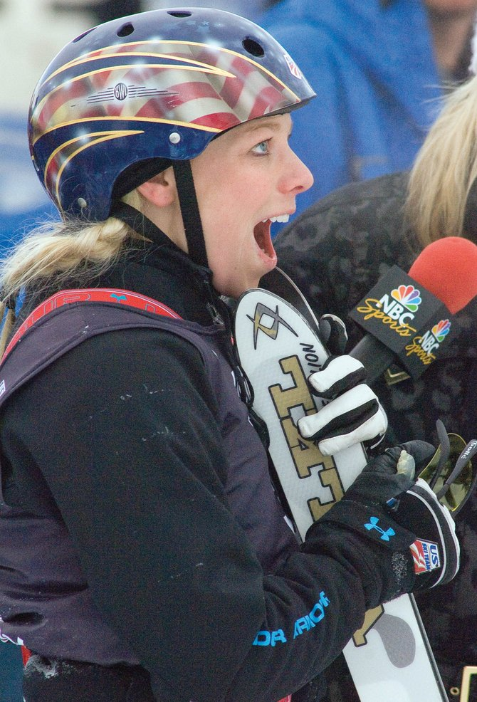 U.S. Freestyle Ski Team member Lacy Schnoor reacts after she learned that she had won the U.S. Olympic Team Trials at the Steamboat Ski Area Thursday morning. The victory mean's Schnoor will have a place at the 2010 Olympic Games in Vancouver.