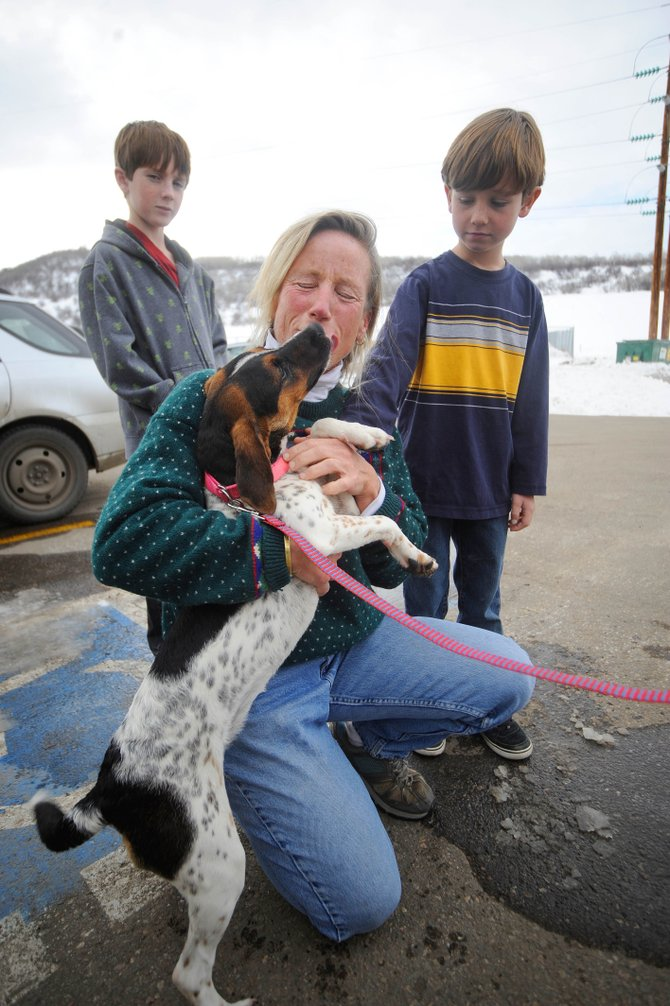Brothers Dylan, left, and Corey Rice watch as a beagle named Katie gives their mom Hillary Rice a lick Tuesday at the Steamboat Springs Animal Shelter. Katie is one of 14  dogs Hillary Rice has rescued as an organizer for Homeless Animal Rescue Team.