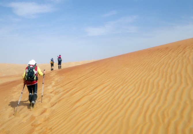 Team Yogaslacker makes its way across the Arabian desert earlier this month in the Abu Dhabi Adventure Challenge. Steamboat's Eric Meyer joined the team for the six-day adventure race.
