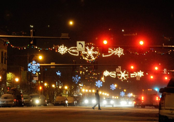 Christmas lights adorn downtown Steamboat Springs on Wednesday evening. The city plans to install new lighting next year.