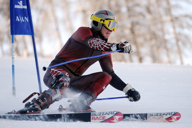 Rob Zehner cuts around a gate Sunday at Steamboat Ski Area during a Town Challenge giant slalom race. Zehner, twice a NASTAR overall national champion, won the race.