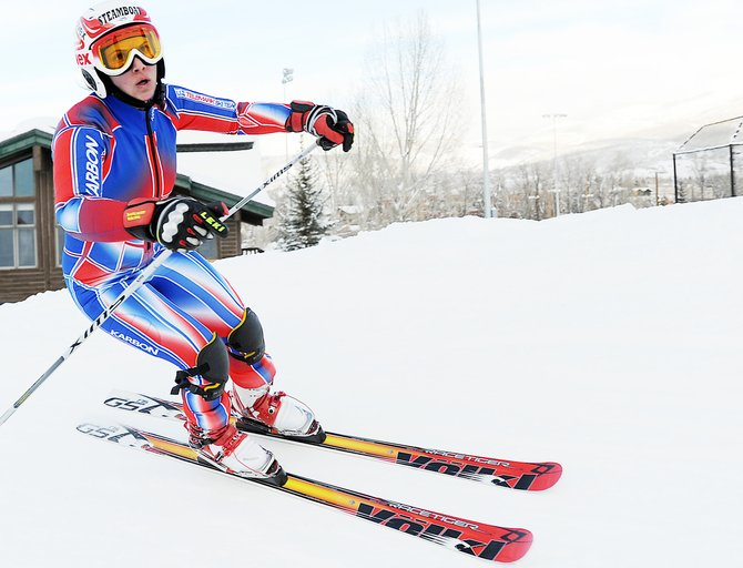 Lorin Paley cuts around the reipeløkke, a 360-degree turn that waited at the bottom of Howelsen Hill's telemark giant slalom run on Thursday. The U.S. Telemark team wrapped up a four-day Steamboat Springs based camp Thursday.