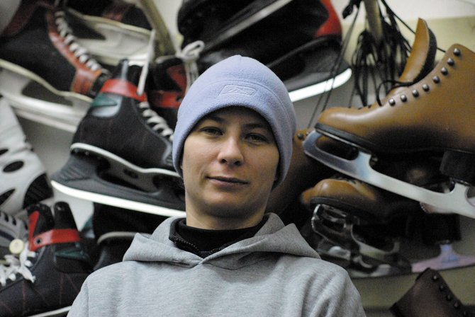 Kandice Torno, 29, has played for the Craig Puck Ewes women's hockey team since the 2006 season. Also while working at the Moffat County Ice Arena, Torno drives the Zamboni.
