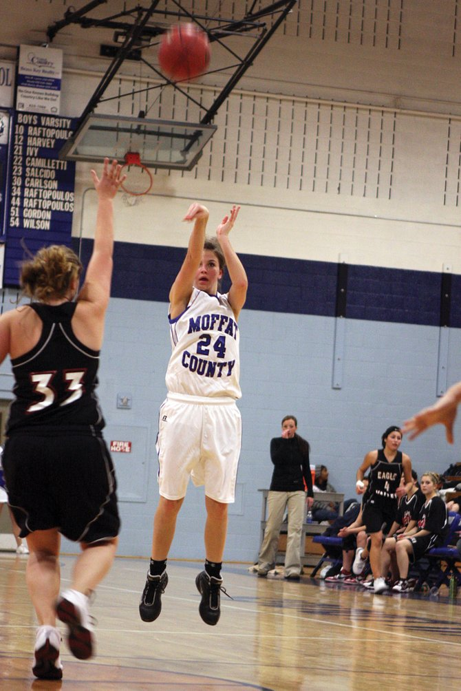 Melissa Camilletti squares up for a jump shot during the Jan. 8 Moffat County High School girl varsity basketball game. The girls fell, 39-28, Friday to Palisade High School.