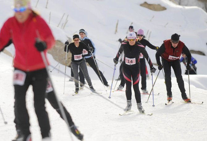 Half-marathon skiers take to the first leg of the course Saturday during the 25th annual Steamboat Stampede at the Steamboat Ski Touring Center.