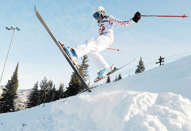 Freestyle skier Jordan Glendinging flies off a jump at the moguls run at Howelsen Hill on Jan. 17, 2010, during the Steamboat Devo Freestyle event.