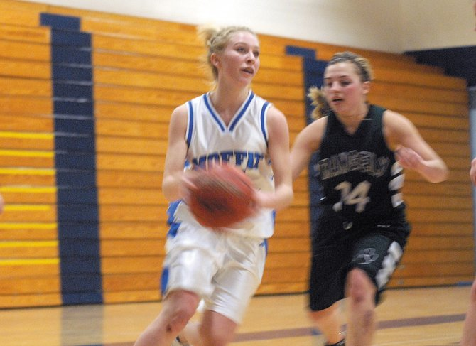 Callie Papoulas, a Moffat County High School junior, drives to the lane against visiting Rangely High School on Tuesday night at the MCHS gymnasium. The Bulldogs girls junior varsity team fell, 51-48, to the Panthers.