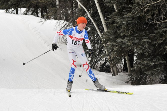 Katie Brodie skis at the Junior National qualifier in Durango. Brodie finished third in the girls J3 division.