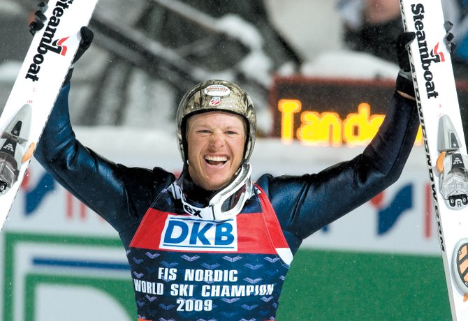 Steamboat Springs' Todd Lodwick celebrates his gold medal in the 2009 Nordic Combined World Championships on Feb. 20 in Liberec, Czech Republic. Lodwick was named the U.S. Olympic Committee's 2009 SportsMan of the Year on Friday, partly because of his stellar performances last year.