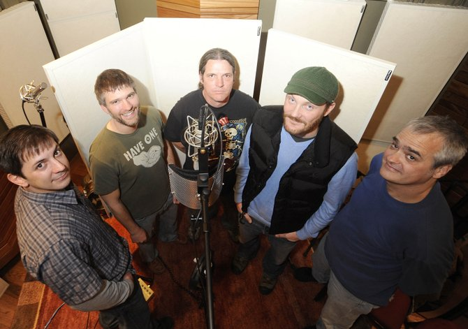Jebus band members, from left, Kevin Williams, Ben Russell, Russell Funke, David Willis and Bob Gumbrecht are in the process of recording an album.