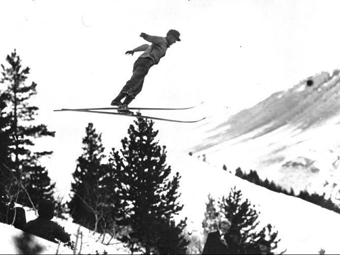 Carl Howelsen takes off from the Howelsen Hill ski jumps in this undated photo from the Colorado Ski & Snowboard Museum. Although Howelsen, a Norwegian, brought ski  jumping to Steamboat Springs and Colorado, the jumping event at the first three Winter Olympic Games were dominated by athletes from Scandinavian countries.
