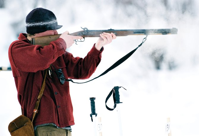 Paul Brassell tries to hit targets with a black powder rifle during the biathlon event during a past Winter Carnival in Steamboat Springs.