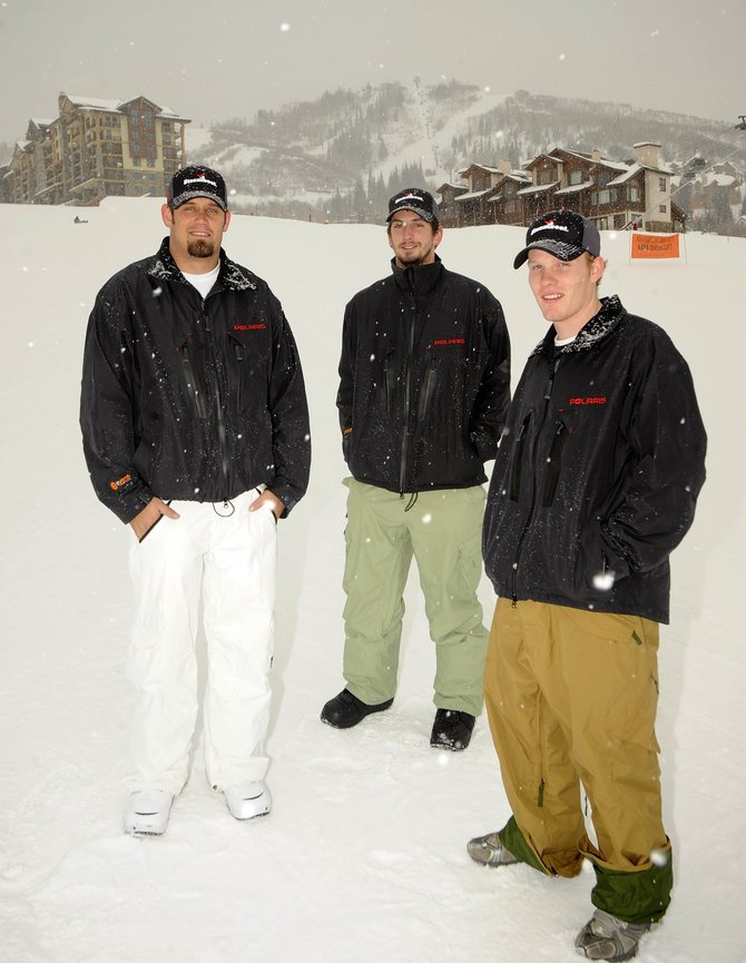 "U.S Army veterans, from left, Sgt. Chris ""Bear"" Bair, Sgt. Austin ""Ice"" Eisinger and Spc. Jeff ""Buckshot"" Baker were in Steamboat on Monday and Tuesday as part of a 34-day road trip that will take them to several ski areas, the X Games and the Winter Olympics."