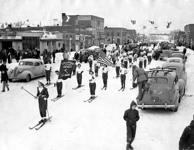 The Steamboat Springs High School Ski Band glides down Lincoln Avenue during Winter Carnival in 1945. Steamboat's iconic winter event turns 97 this year.