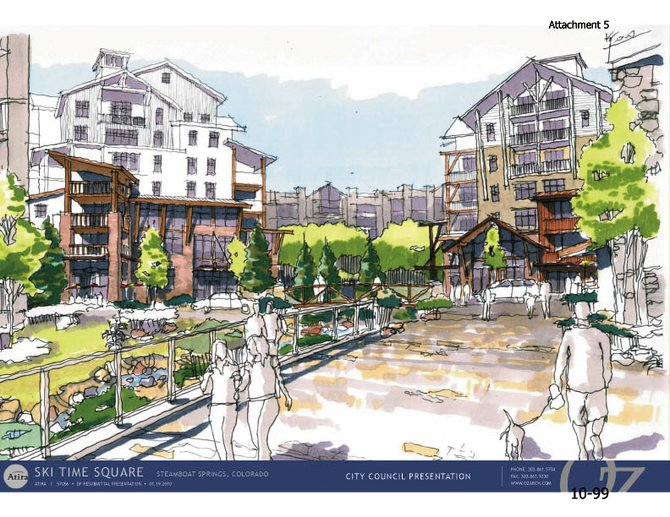 This rendering shows a vision of The Atira Group's redevelopment plans for Ski Time Square. The primarily residential plans include about 200 condominium units and more than 27,000 square feet of commercial space. City Council is slated to review the project Tuesday night in Centennial Hall.