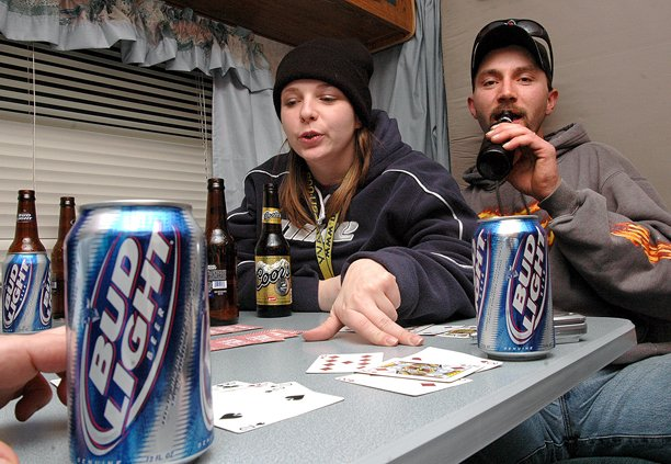 Scenes like this, of residents camping out and enjoying some alcoholic beverages while waiting to purchase Kiwanis Club play tickets, won't be allowed this year at the Veterans of Foreign Wars Post 4265. The VFW said allowing open liquor containers on the post property puts the organization's liquor license in jeopardy.